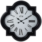 Black & White Quatrefoil Wall Clock