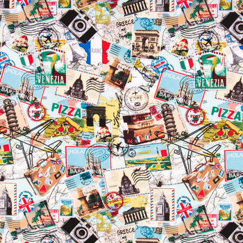 Travel Collage Cotton Calico Fabric