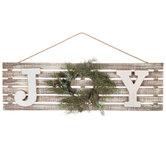 Joy With Wreath Wood Wall Decor