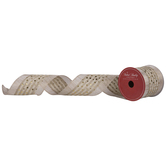 Gold Dots & Stripes Wired Edge Ribbon - 3 1/2""
