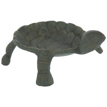 Antique Green Metal Turtle Jewelry Dish