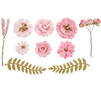 Blush Paper Flower & Pick Embellishments