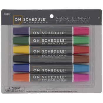 Double Ended Bullet Tip Dry Erase Markers - 6 Piece Set