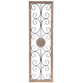 Rectangle With Swirls & Medallion Metal Wall Decor