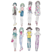 Watercolor Girl Stickers