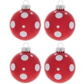 Red & White Glitter Polka Dot Ball Ornaments