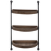 Industrial Three-Tier Curved Wood Wall Shelf