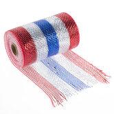 "Metallic Red, White & Blue Striped Deco Mesh Ribbon - 5 1/2"""