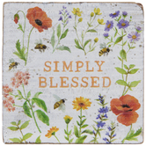 Simply Blessed Floral Wood Decor