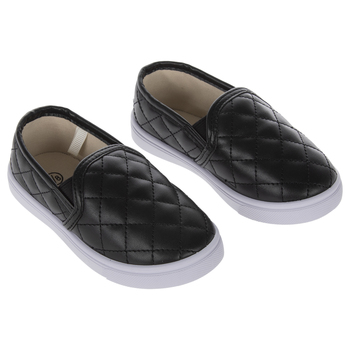 Black Quilted Toddler Sneakers - Size 7/8
