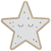 White & Gold Star Wood Wall Decor