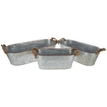 Galvanized Metal Oval Planter Set