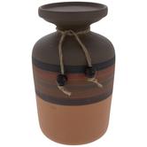Brown Striped Vase Candle Holder