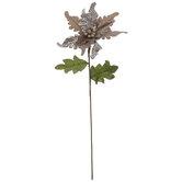 Taupe Velvet Glitter Poinsettia Stem