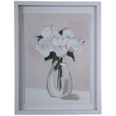Pink Flower Vase Framed Wood Wall Decor