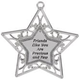 Friends Like You Silver Star Ornament