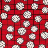 Red Volleyballs Fleece Fabric