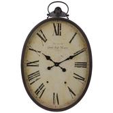 Oval Roman Numeral Metal Wall Clock