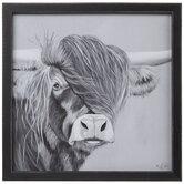 Gray Highland Cow Wood Wall Decor