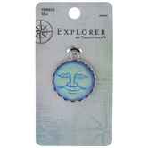 Iridescent Blue Moon Face Pendant