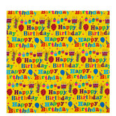 Yellow Happy Birthday Gift Wrap