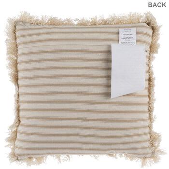 Tan & Beige Ticking Striped Fringe Pillow