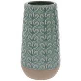 Turquoise Crackled Leafy Vines Vase