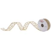 """Gold Glitter Leaf Wired Edge Ribbon - 1"""""""