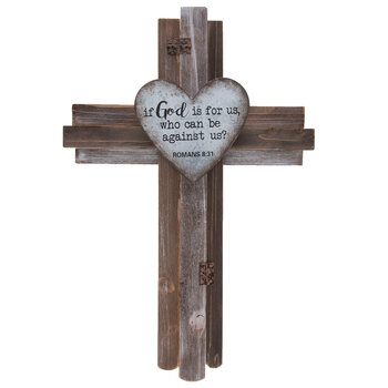 Romans 8:31 Wood Wall Cross