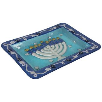 Menorah Glass Platter