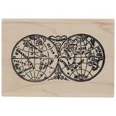 Vintage World Map Rubber Stamp