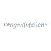 Silver Glitter Congratulations Banner