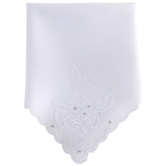 White Mother Of The Groom Embroidered Hankie