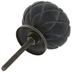Black Round Carved Wood Knob