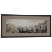 Sepia Tone Cityscape Framed Wall Decor