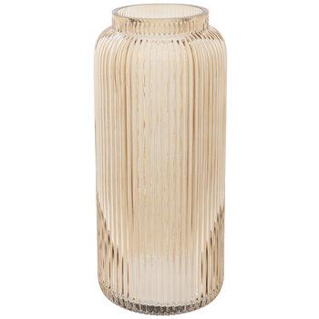 Round Ribbed Glass Vase
