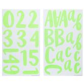 Green Neon Prickly Glitter Alphabet Stickers