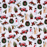 Trucks & Evergreens Cotton Fabric