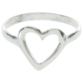 Sterling Silver Heart Ring - Size 8