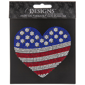 American Heart Rhinestone Iron-On Applique