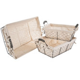 Rectangle Chicken Wire Baskets With Liners Set