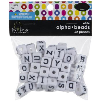 White & Black Alphabet Letter Beads