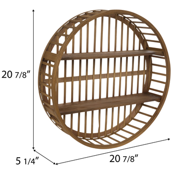 Natural Round Two-Tiered Wood Wall Shelf