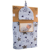 Blue Star Baby Swaddle & Hat