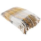 Yellow & Gray Plaid Fleece Throw Blanket