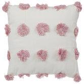 White & Pink Pom Pom Pillow