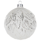 White Ball Ornament With Silver Leaves