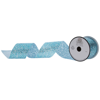 Turquoise Glitter Cut Edge Ribbon - 2 1/2""