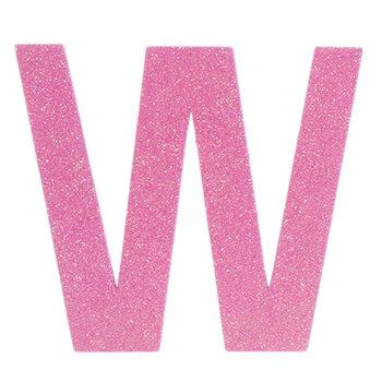 """Glitter Wood Letter W - 4"""""""