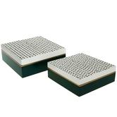 White & Green Wood Jewelry Box Set